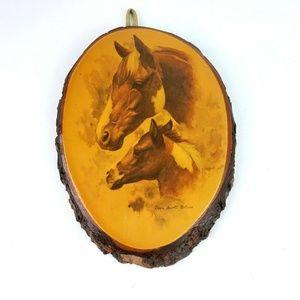 Vtg Doris Scott Nelson Palomino Horses Tree Art